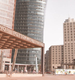 Potsdamer Platz in Berlin with the Beisheim Center and train station