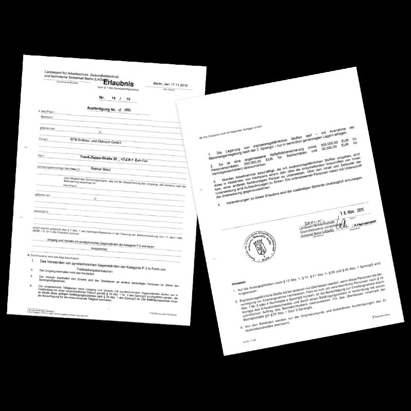 Erlaubnis zur Verwendung von pyrotechnischen Gegenständen (AutoStem Verfahren), ausgestellt vom Landesamt für Arbeitsschutz Berlin